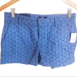 GAP. Quiet Blue:Bluebell, Open floral. Shorts. NWT